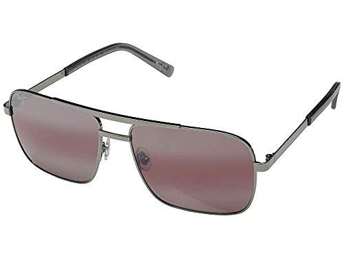 Maui Jim Compass R714-02D | Polarized Gunmetal Aviator Frame Sunglasses, Maui Rose Lenses, with with Patented PolarizedPlus2 Lens ()