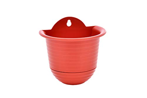 TABOR TOOLS Plastic Wall Planter Pot for Vertical Flower Garden, Living Wall or Kitchen Herbs, Colorful Modern Wall Planter with Attached Saucer, Small 6 Inch. ZG651A. (Red Terracotta)
