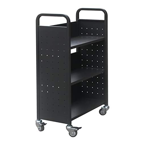 Commercial Grade Rolling Book Cart Bookmobile, 4-Wheel Home Library Book Storage Organizer Bookshelf (Black) ()