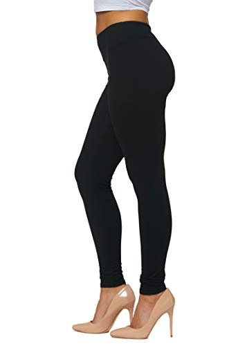 Conceited Buttery Soft High Waisted Leggings for Women in Reg and Plus - 25 Colors Full Length Midnight Black - Small - Medium