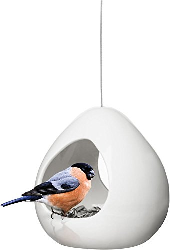 Sagaform Birdy Stoneware Bird Feeder/Candle Holder, White