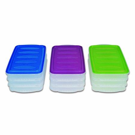 Vorratsbox, Aufschnittdosen, Kühlschrankbox 3er - Set, Deckel farblich sortiert