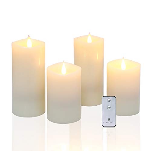 Flameless Candles LED Pillar Candles with Rose Scent & 3D Flickering Wick Set of 4 (H5