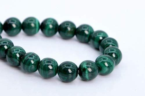 7-8mm Genuine Natural Malachite Beads Grade A Round Gemstone Loose Beads 7.5'' Crafting Key Chain Bracelet Necklace Jewelry Accessories Pendants (Genuine Mlb Necklace)