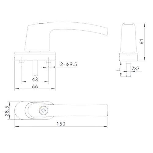 PRAKTISCHES SET 6 x Fenstergriff abschlie/ßbar Fenster/öffner Fensterhebel Griff mit Schlo/ß SILBER