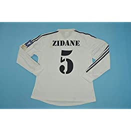 BROOK Zidane#5 Real Madrid Home Retro Long Sleeve Soccer Jersey Maillot 2002 Full UCL. Patch