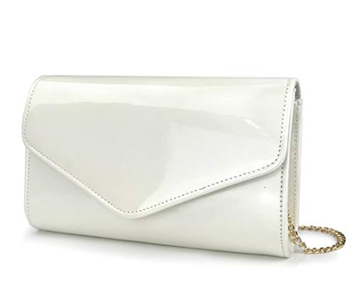 White Bag Patent - Glossy Envelope Evening Clutch Faux Patent Leather Women Chain Shoulder Bag Solid Color Purse (White)