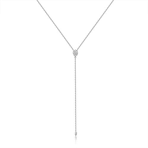 Platinum Plating (espere Dainty Sterling Silver Necklace Small Waterdrop Lariat Necklace Y-Shaped Platinum Plating)