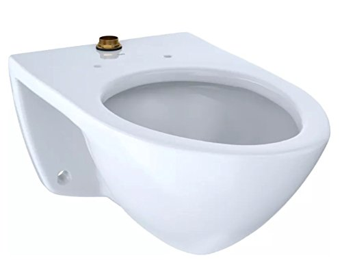 TOTO CT708U#01 Elongated 1.0 GPF Wall-Mounted Flushometer Toilet Bowl with Top Spud, Cotton White-CT708U