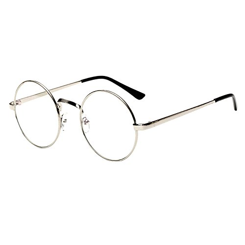 Scorpiuse Aviator Glasses Clear Lens Retro Metal Frame Eyeglasses (Round Silver, - Glasses Circular Framed