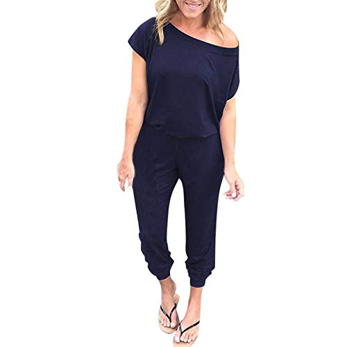 Thenxin Women Casual Jumpsuit Off Shoulder Short Sleeve Solid Color Elastic Wasit Beam Foot Playsuit(Navy,L)