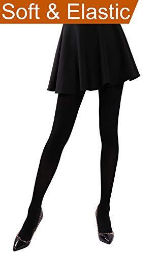 HeyUU Women's Semi Opaque Solid Color Soft Footed Pantyhose Tights 2 Pack Black