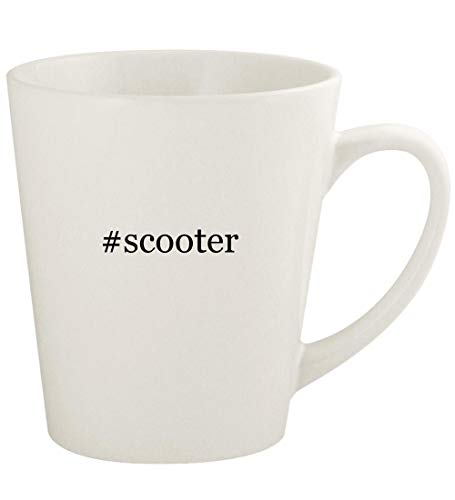 #scooter - 12oz Hashtag Ceramic Latte Coffee Mug Cup, White (Dirt Scooter Mgp)
