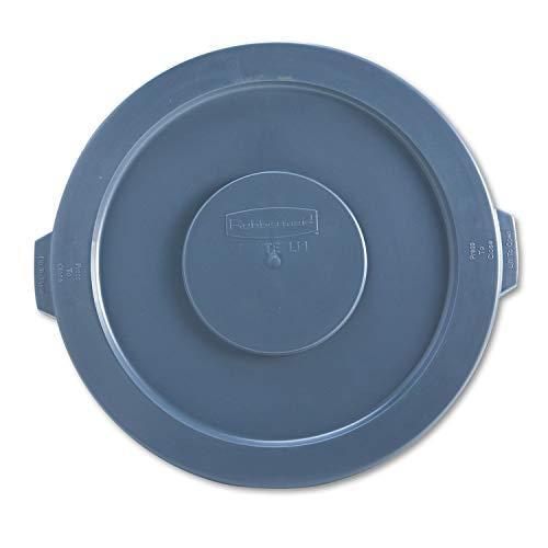 Rubbermaid 263100GY Round Flat Top Lid, for 32-Gallon Round Brute Containers, 22 1/4