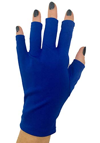 d Sunblock Protection Shield Driving Gloves also for Gel Nail Manicure UV and LED Dry Lamps (Royal Blue) ()