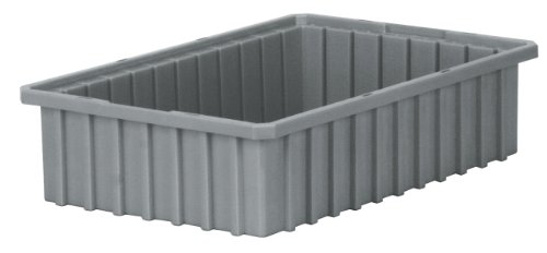 Akro-Mils 33164 Akro-Grid Slotted Divider Plastic Tote Box, 16-1/2 -Inch Length by 10-7/8-Inch Width by 4-Inch Height, Case of 12, Grey by Akro-Mils
