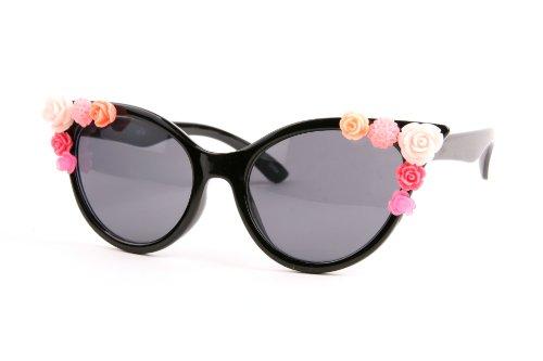 Retro Vintage Style Flower Cat Eye Fashion Sunglasses P2128 (Black-Smoke (Sunglasses Flower)