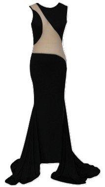 Damen-Kleid, ärmellos, ausgeschnittenes langes Abendkleid, Cocktail-Party/Ballkleid, Größe EU 38�?0, schwarz/ausgeschnitten