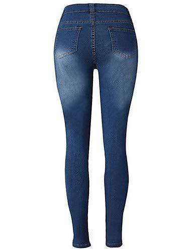 pour Solid Colored Blue YFLTZ Chic Femme Hole Street Jeans Pantalon vPPSwq16