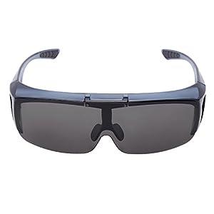 O-LET Clip On Sunglasses Over Prescription Glasses for Men Women Outdoor Driving Fishing (Shiny Black Frame/Grey Lens, 77)