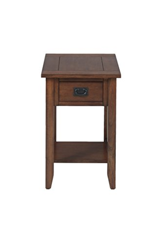Jofran 1032-7 16 by 24 by 24-Inch Chairside Table with Picture Framed Top and Drawer with Black Mission Hardware, Mission Oak (Mission Oak Bedroom Suite)