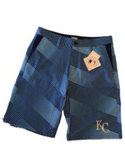 (Mens Diagonal Stripe Walking Shorts Kansas City Royals (Large/36))
