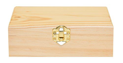 Darice Unfinished Wood Craft Box – Light Unfinished Wood with Clasp – Make Your Own Gift Box, Jewelry Box, Photo Box - Decorate with Paint, Ribbon, Decoupage and More – -