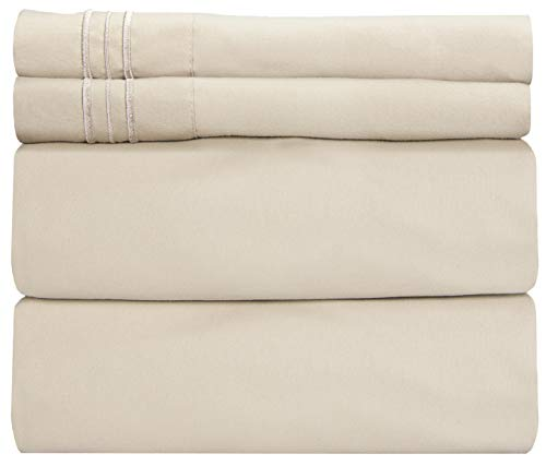 King Size Sheet Set - 4 Piece - Hotel Luxury Bed Sheets - Extra Soft - Deep Pockets - Easy Fit - Breathable & Cooling Sheets - Wrinkle Free - Comfy - Beige Tan Bed Sheets - Kings Sheets - 4 PC