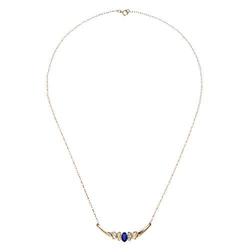 Naava - Collier - Femme - Or jaune (9 carats) - Diamant - Saphir 0.75 Cts