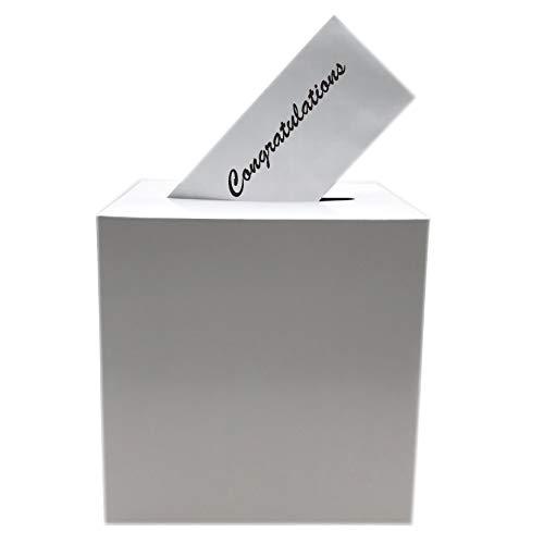 Adorox White Wishing Well Wedding Money Box Memory Cards Reception Centerpiece Box (1 Pc Box) (Best Way To Paper Mache A Balloon)