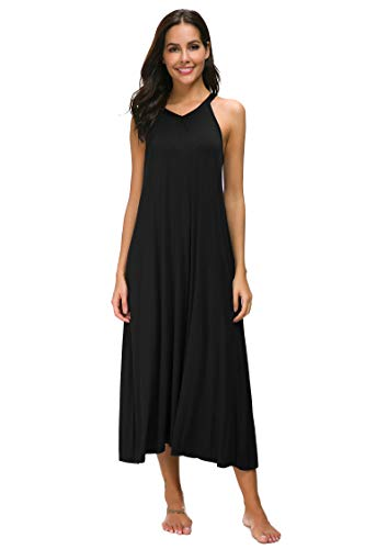M-anxiu Full Length Nightgown Womens Sleeveless Nightshirt Satin Trim V-Neck Sleepwear(Black, Medium)
