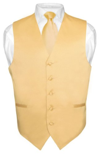 Men's Dress Vest & NeckTie Solid GOLD Color Neck Tie Set for Suit or Tux sz S -