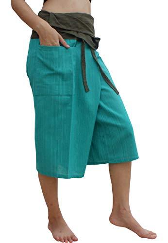 Raan Pah Muang Thin Striped Cotton Two Tone Fisherman Capri Wrap Pants, X-Large, Persian Green/Dark Moss ()