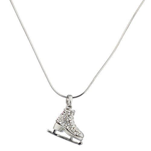 Lux Accessories Kids Girls Pink & Silvertone Two Sided Skating Pave Ice Skate Pendant Necklace