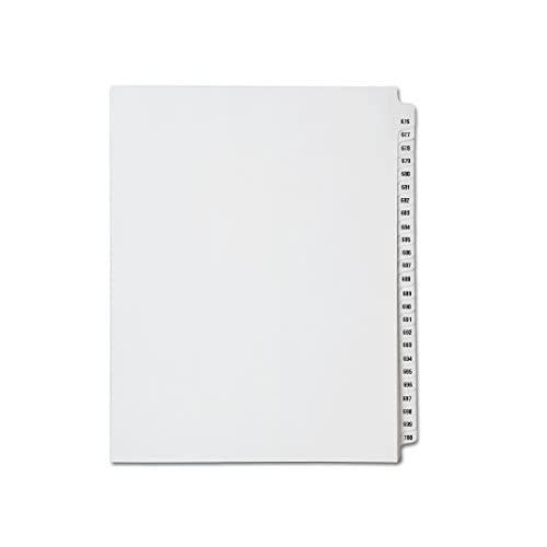 New Avery Collated Legal Index Dividers- Numbers 676 - 700, Letter Size, White, Mylar Tabs (1/Set) for cheap