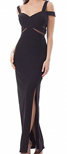 JS Collection Women's Strappy Illusion Gown Dress Black 14