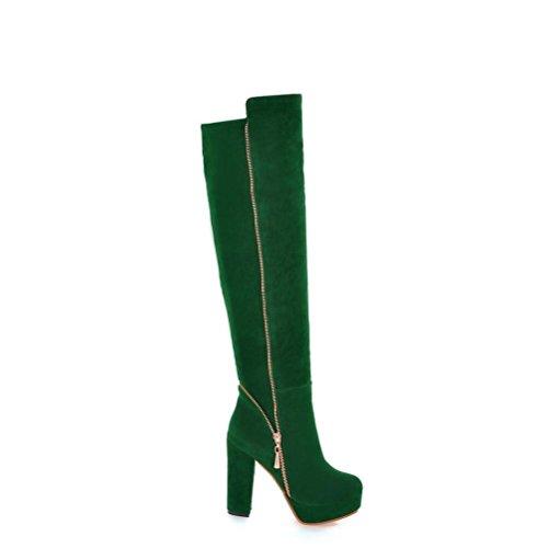 Ei&iLI Bottes printemps femmes / hiver Fashion bottes en similicuir extérieur / occasionnel , green , 42