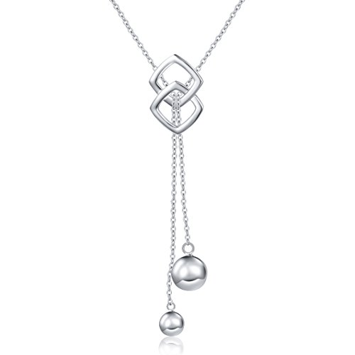 Long Necklace S925 Sterling Silver Tassel Round Ball Necklace for Women, 30