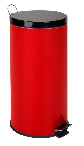 Honey-Can-Do TRS-03026 30-Liter/8-Gallon Stainless Steel Step Trash Can with Liner, Ruby Red by Honey-Can-Do