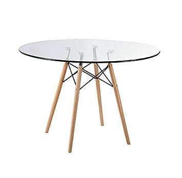 Zolta Glastisch Tischplatte Runder Esstisch Buchenholz Esszimmer