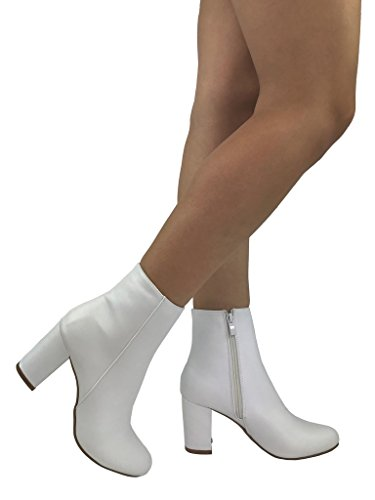 Women's BROOKLYN Ankle Bootie Round Toe Mid Low Heel, White, 8