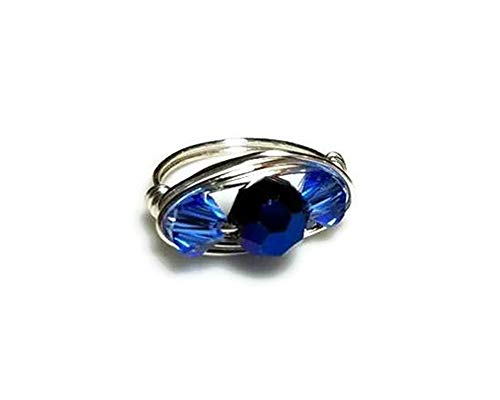 Multistone Sky Blue and Cobalt Crystals Wire Wrapped Ring, Customize Sterling Silver, Gold- or Silver-Plated, US Size 4 5 6 7 8 9 10 11 12 13 14 15 Ring Box