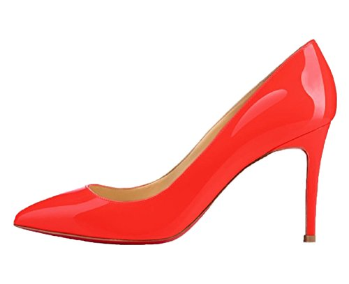 Sole toe Stiletto Pumps Pumps Women Wedding Red Work Pumps Pointed HooH Red 81Zxwn