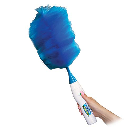 Hurricane Spin Duster Motorized Dust Wand by BulbHead, The Electric Duster That Removes Dust in A Single Spin, Blue and White