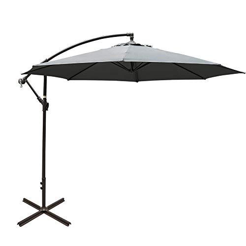 Sundale Outdoor 10FT Offset Umbrella Cantilever Umbrella Hanging Patio Umbrella with Crank and Cross Bar Set, Steel Ribs, Polyester Canopy Shade for Deck, Garden, Backyard, Grey