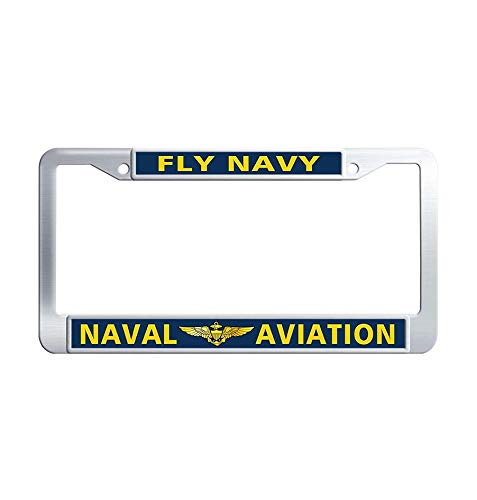 JiuzFrames Fly Navy Naval Aviation Car Plate Frame, Hippie Waterproof Metal Stainless Steel License Plate Covers Holder with Screw Caps