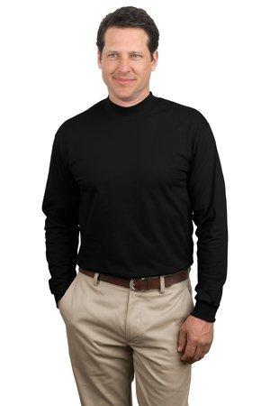 Mock Golf Cotton Turtleneck - Port & Company Men's Mock Turtleneck - Large - Black