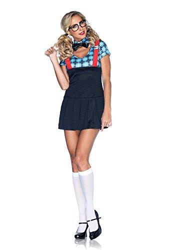 Leg Avenue Women's 4 Piece Naughty Nerd Costume, Blue, Medium/Large (Sexy Nerd Costume)