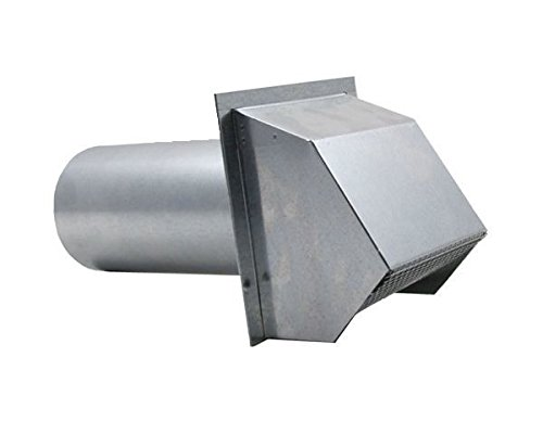 Hooded Wall Vent with Spring Loaded Damper, Gasket and Screen - Galvanized 7 inch