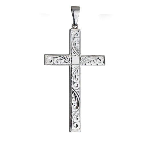 Croix massive en argent de 55x33mm gravée à la main
